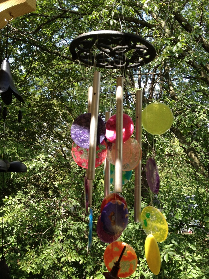 Upcycled wind chimes made with old tubes