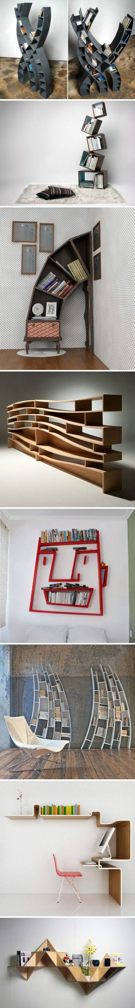 Unique DIY Book Shelves - not so certain about the face but the rest are awesome ideas