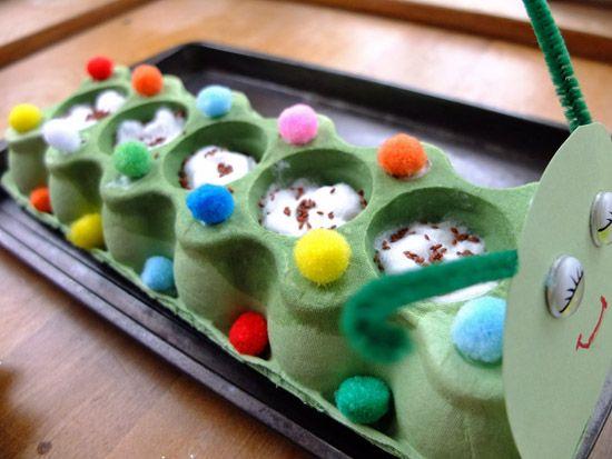 Spring Project: reuse egg carton to make a Cress Caterpillar