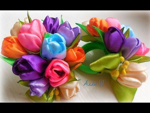 МК Бантики з  весняних квітів на резинці до 8 Березня. Бантики из ленточек до 8 Марта. - YouTube