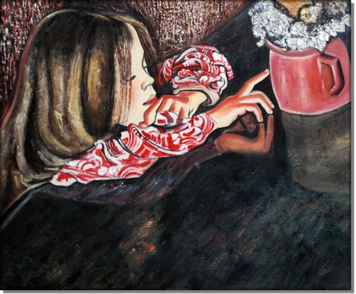 Dziewczynka z wazonem - Stanisław Wyspiański - Obrazy olejne i dekoracje na ścianę - RamaRama.pl