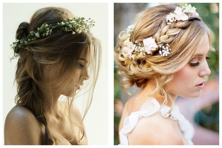 2 coiffures boho romantiques avec couronnes de fleurs