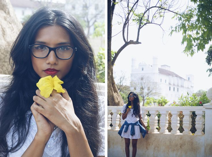 vogue eyewear meet the bloggers style miles goa travel rhea gupte the girl from FUSS outfit spectacles denim jacket red lipstick travel blogger se cathedral old goa