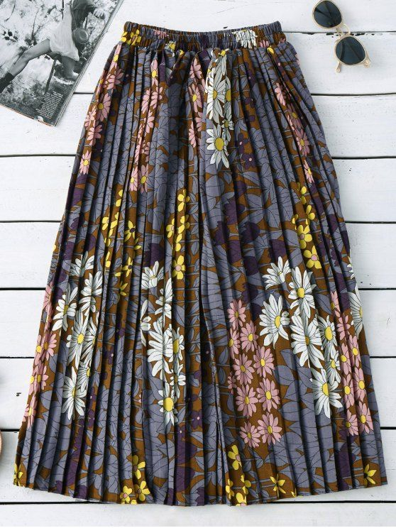 Floral Pleated Midi Skirt - COLORMIX ONE SIZE Mobile