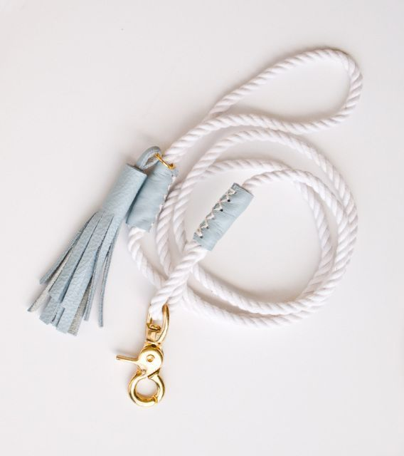 Minimalist leather & rope dog leash, for the stylish hound on vacation