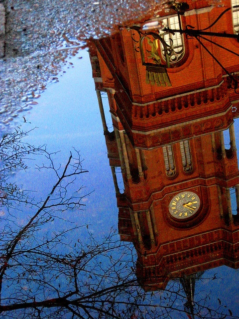 The Rotes Rathaus in a puddle by blondepowers, via Flickr