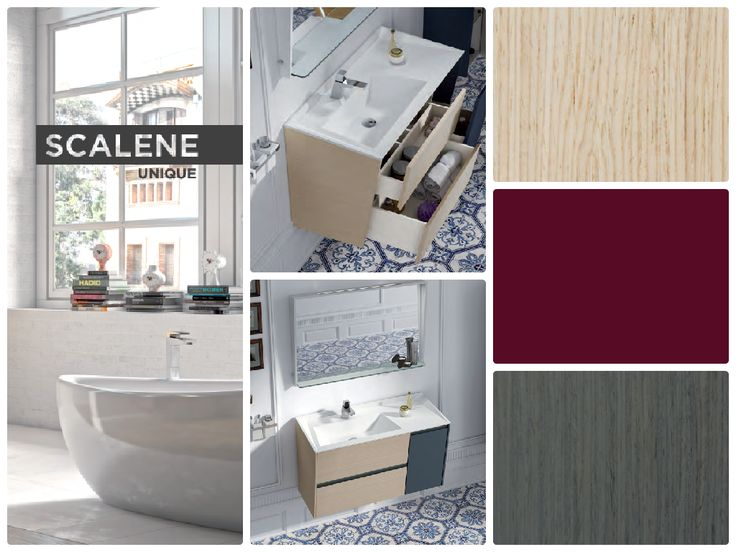 Sonia presenta #LíneaScalene mobiliario para baño con armazón lacado o con chapa de roble. Instalación apta para pladur. encimera #solidSurface