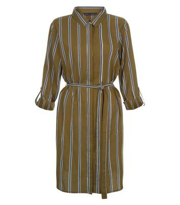 Khaki Stripe Tie Waist Shirt Dress