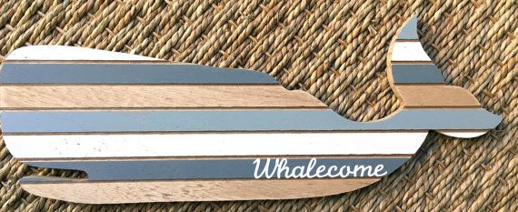 Wooden Whale Sign Nautical Decor Nursery by everydayholidayshop