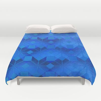 Twilight Duvet Cover by Gréta Thórsdóttir - $99.00  #scandinavian #snowflake #pattern #blue #cobalt #ombre #nightfall #bedroom