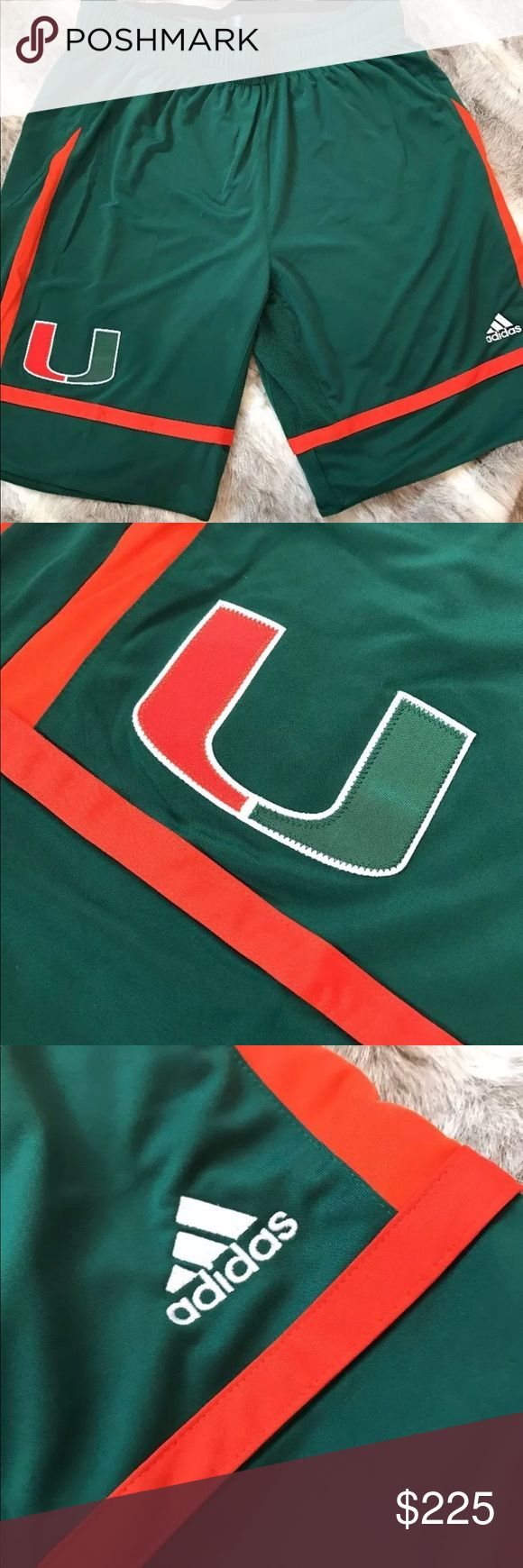 Miami Hurricane Team Issued Game Shorts NWT RARE Brand new with tags team issue Miami Hurricane basketball shorts with non slip waist.. Size large Rarely found NEW! adidas Shorts Athletic
