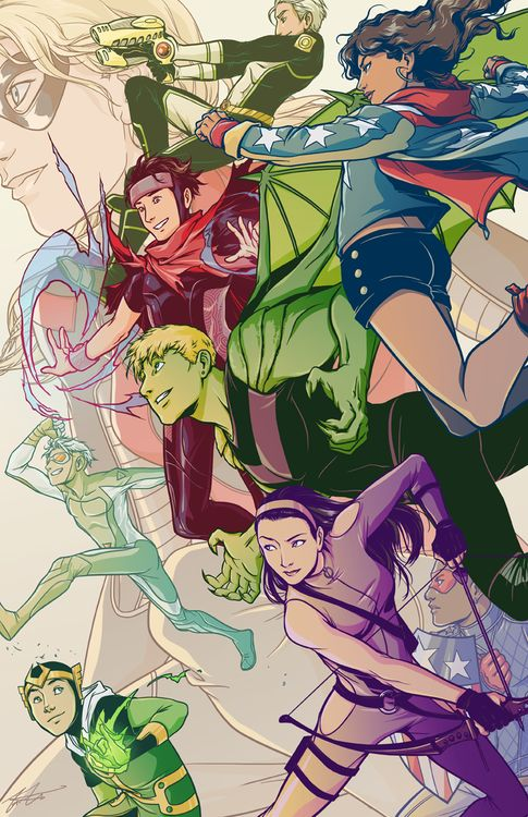 """THEY HAVE THE OLD YOUNG AVENGERS AS GHOSTS IN THE BACKGROUND! I love how Tommy is all like """"YAY!"""""""