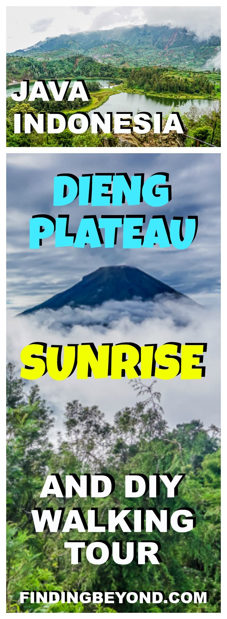 Check out our Dieng Plateau sunrise and DIY walking tour in Java, Indonesia. You don't need a guide to see the soaring volcanoes, steaming craters and colourful lakes. | Best Places to visit Indonesia | Sunrise without tour in Java | Top Places To Visit In Java | Best Places to visit in Java | Best hikes in Java | Best hikes in Indonesia | Self guided tours Java | Self guided tours Indonesia | Walking Tours in Java | Visiting Dieng Plateau |