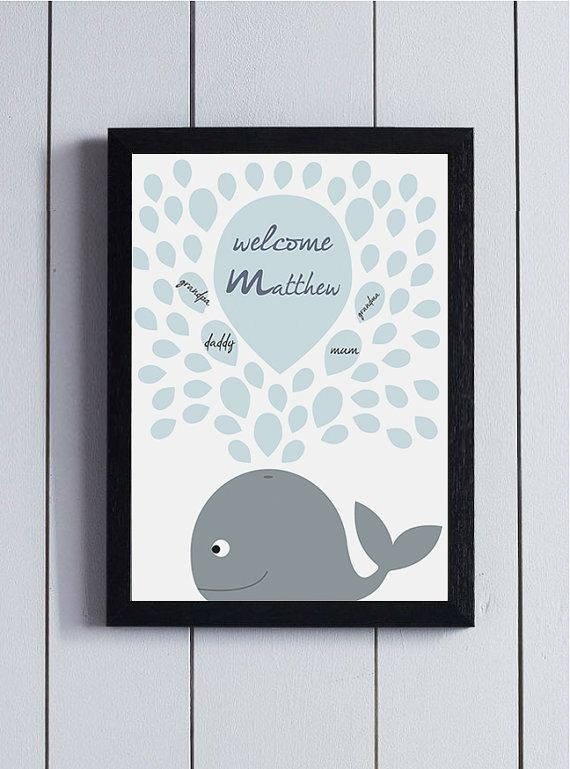 Baby Shower Guest Book Boy ~ Baby shower guest book birthday guestbook whale signature