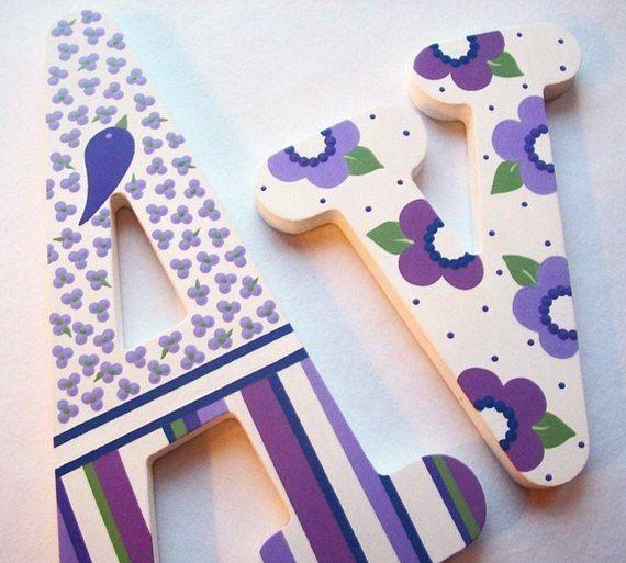 Custom Painted Decorative Wooden Wall Letters por PoshDots en Etsy