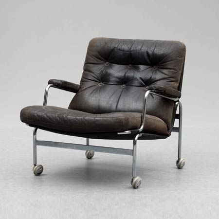 Bruno Mathsson; Chromed Tubular Metal and Leather 'Karin' Chair, 1972.