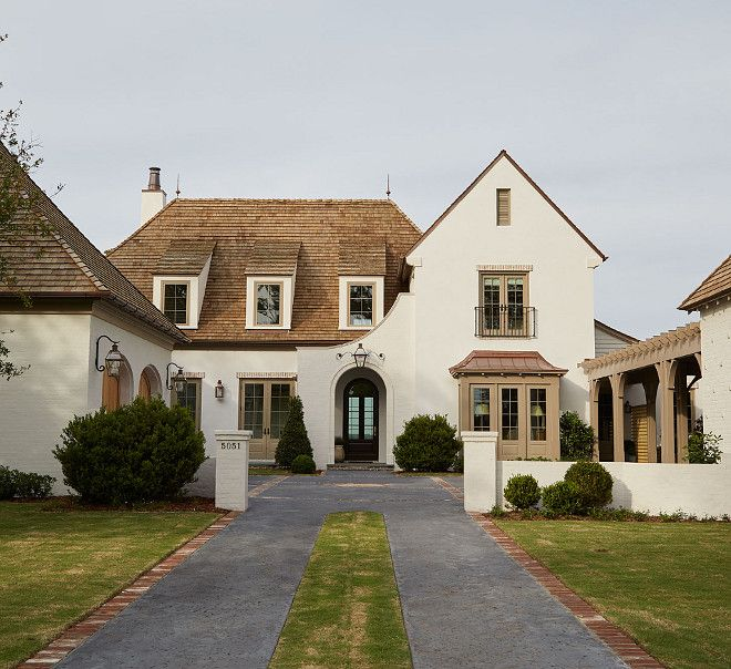 Best White Exterior With Cedar Shingles Roof Brick Farmhouse 640 x 480