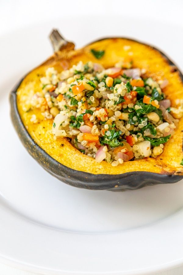 Roasted Stuffed Acorn Squash With Quinoa And Kale Recipe With