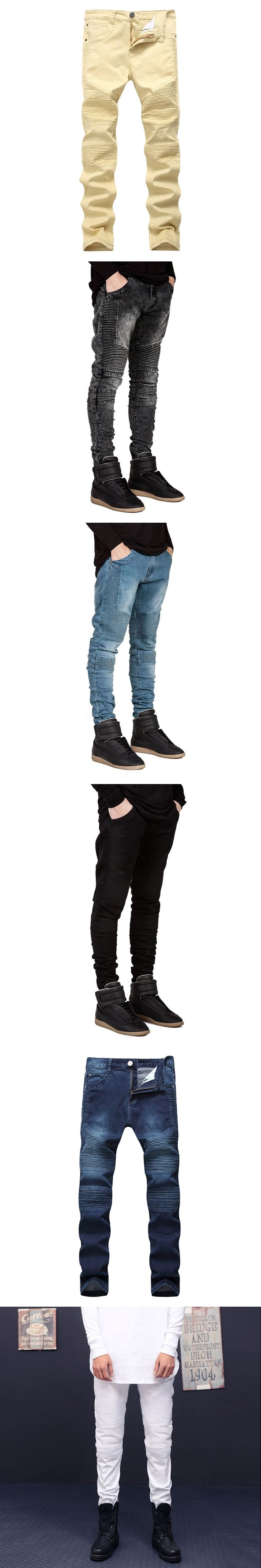 New Dropshipping Biker Jeans Men High Stretch Cargo Denim Jeans Pleated Slim Jean Men's Scratched Pants Trousers