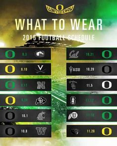 What to wear - 2016 Oregon Ducks color schedule