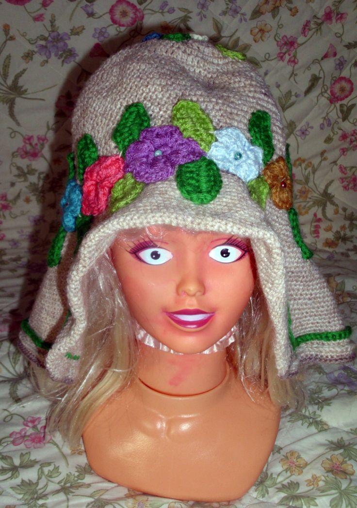 Women's crochet hat,Vintage inspiration, crochet hat vintage inspiration, hat with flowers, hat,Vintage Style by RomanticHandmade on Etsy