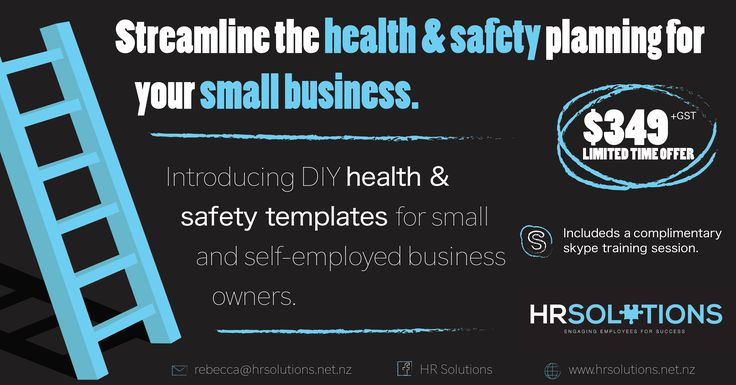 We want to make it easy for people to get set up their system while at the same time ensuring they have the tools and people around them to help. We are offering a DIY health and safety template plus a skype call to answer those questions you have. For more information contact me on 021918331 or rebecca@hrsolutions.net.nz  *Not suitable for a tradesperson - please speak to us and we are happy to help!