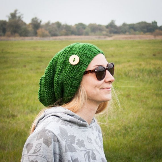 Green Slouchy Beanie Hat With Handmade Wooden Button / Green Urban Style Hand Knit Beanie / One Size Apple Green Warm Fall Winter Hat