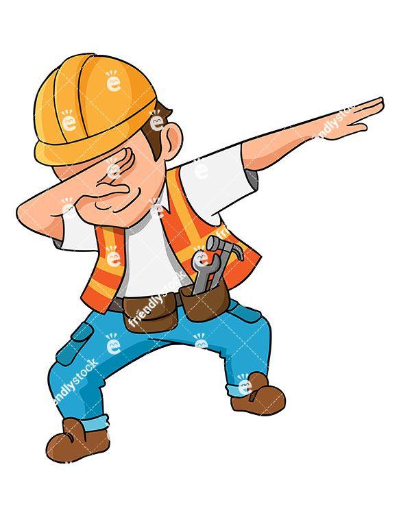 Dabbing Construction Worker Cartoon Vector Clipart Friendlystock Engineer Cartoon Cartoons Vector Civil Engineering Logo