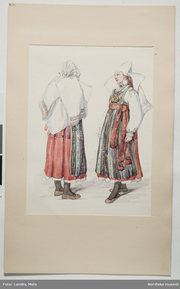 Festdräkt för gift kvinna Ljunits härad, Skåne. Akvarell av Emelie von Walterstorff. (E.v.Walterstorff).