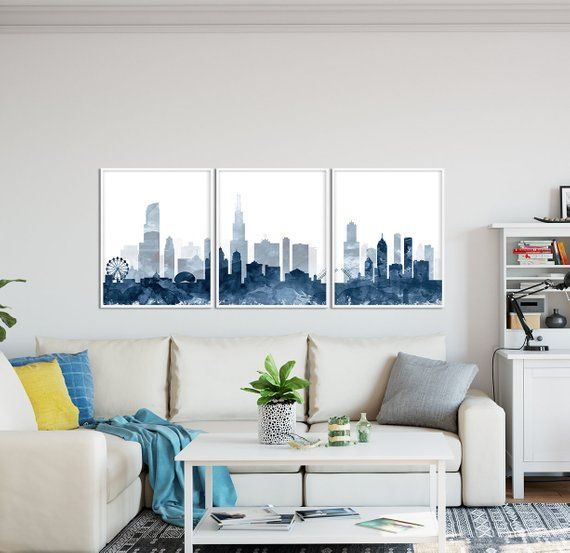 Chicago Print Chicago Skyline Watercolor Navy Blue Set Of 3 Etsy Chicago Print Modern Wall Art Decor