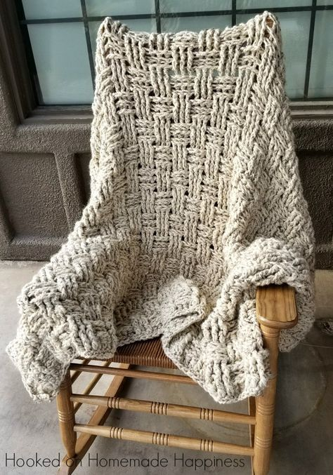 Chunky Basketweave Throw Crochet Pattern Knitting