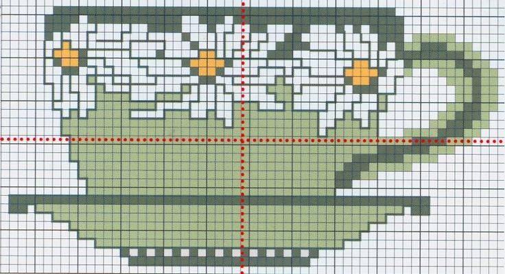 Daisy Tea Cup free cross stitch pattern from www.coatscraft.pl #cross-stitch