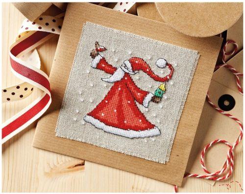 новогодняя открытка, дед мороз, санта клаус, вышивка крестом, схема