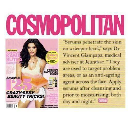 Magazines with Jeunesse Global's products featured.