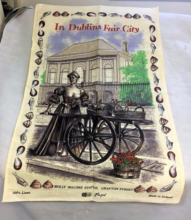 Linen Tea Towel Ireland In Dublin's Fair City Molly Malone Statue New w/o Tag