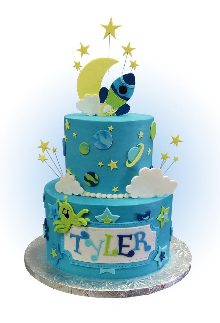 Outer space rocket birthday cake kids birthday cakes for Outer space cake design