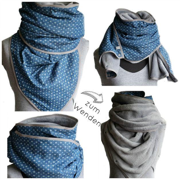 Dies ist ein feiner Frau Luther- Schal zum Wenden & mit Druckknöpfen für Viele Versionen als Dreieckstuch, Schal oder auch Loop. Du kannst es von vorne bis hinten tragen & es hat gleich mehrere...