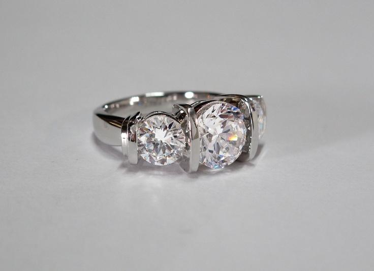 Bar Set 3 Stone Diamond Engagement Ring Www