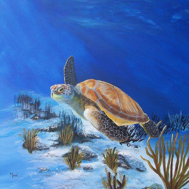 acrylic paintings of sea turtles | Loggerhead Sea Turtle Painting - Loggerhead Sea Turtle Fine Art Print
