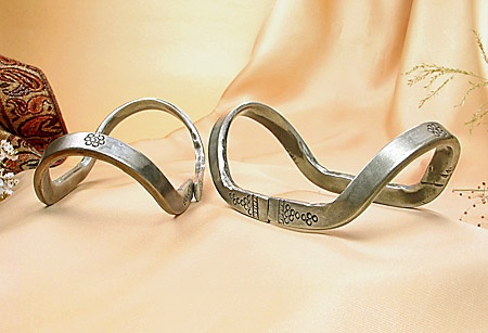 Rare and Unusual Collectible Old Indian Tribal Anklet Pair made of Silver from JeGem.com