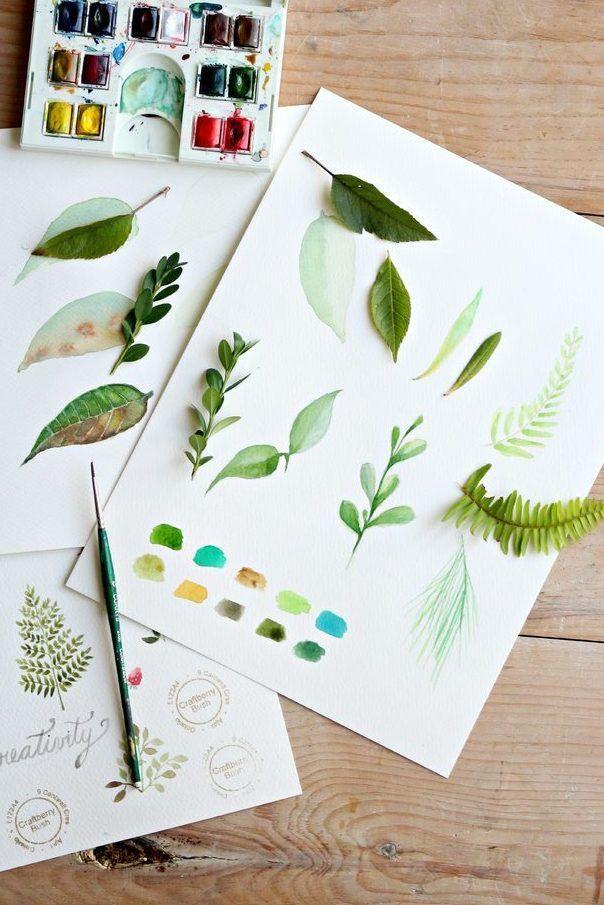 Sulu Boya Yaprak Boyama Watercolour Tutorials Watercolor Art Watercolor Leaves
