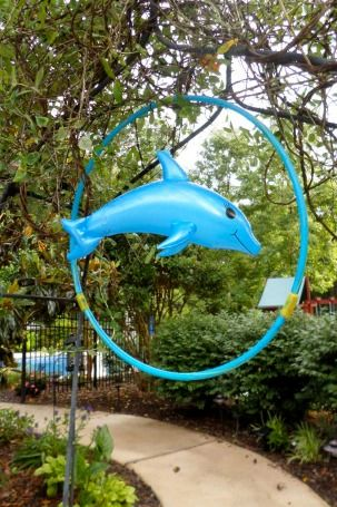 An inflatable dolphin inside a blue hula hoop greeted guests when they first arrived.