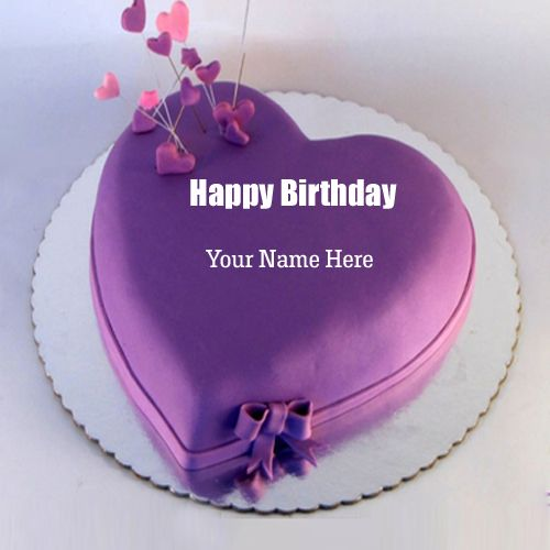 Personalize Happy Birthday Purple Heart Cake With Name Happy