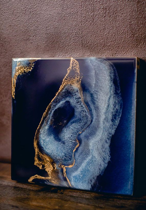 Deep Blue and Gold Geode Art