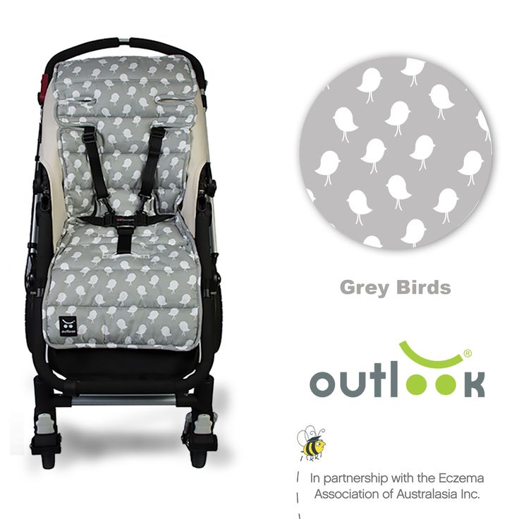 Outlook Cotton Pram Liner Grey Birds