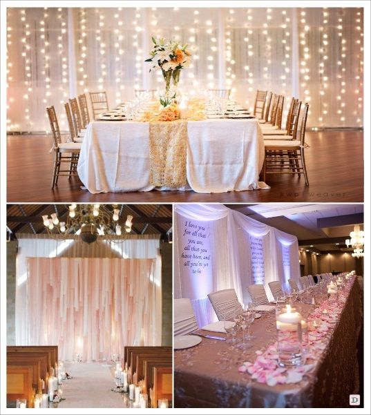 decoration salle mariage cacher un mur rideau lumineux voilage