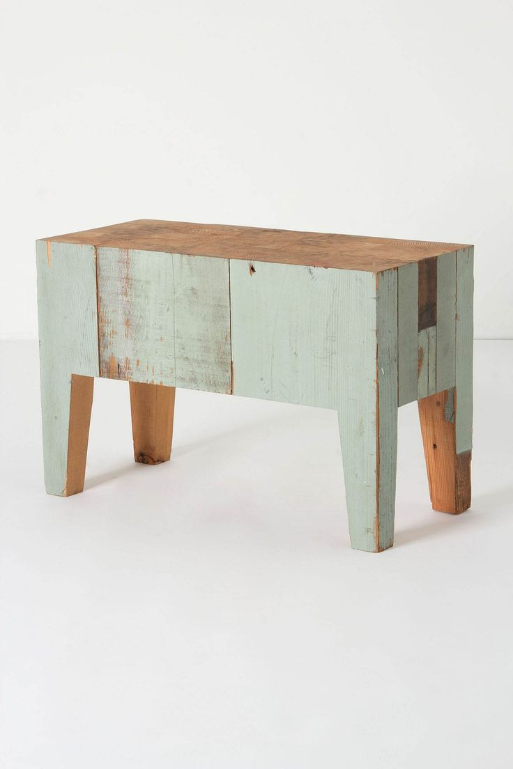 Lostine by Robert Ogden  Cuthbert Bench TableDiy Ideas, Cuthbert Benches, Coffee Tables, Wooden Benches, Mint Green, Kitchens Islands, Anthropologie Com, Rustic Wood, Benches Tables