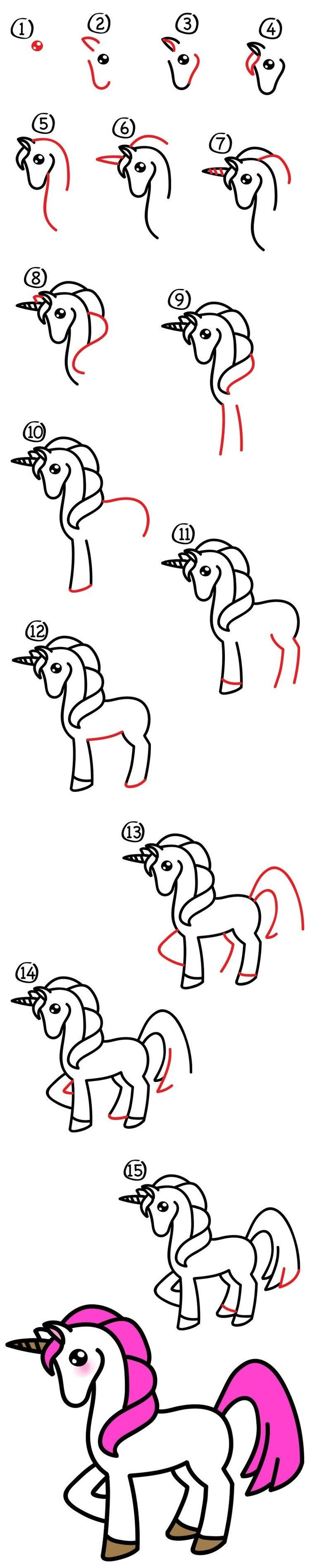 unicorn doodle how to draw
