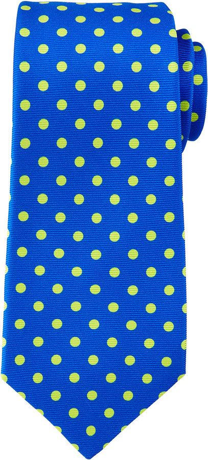 $295, Blue Polka Dot Silk Tie: Kiton Contrast Polka Dot Tie Royal Bluegreen. Sold by Neiman Marcus. Click for more info: https://lookastic.com/men/shop_items/196942/redirect