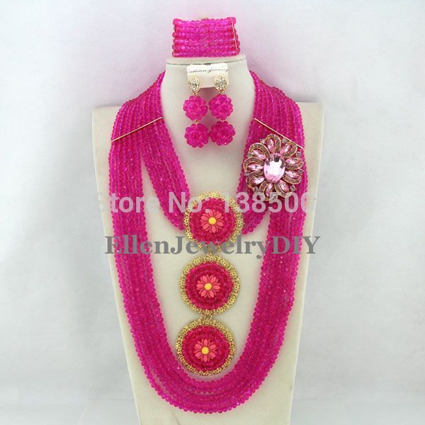 Latest Design Hot Pink Pendant African Nigerian Wedding Beads Crystal Jewelry Set Crystal Necklace Bracelet Earrings Set  WS5540